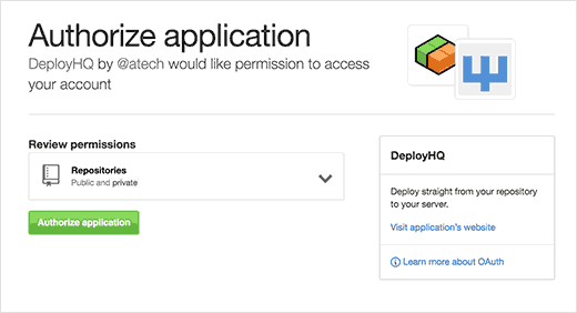 Give Deploy permission to access your GitHub account