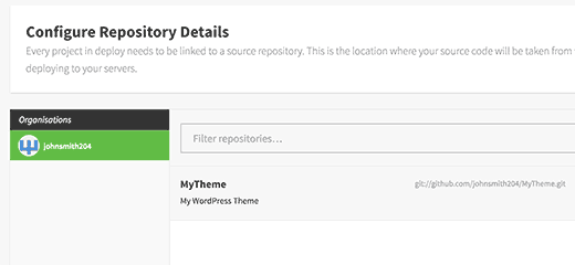 Select your repository