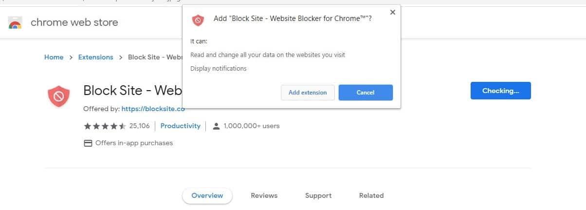 add block site extension