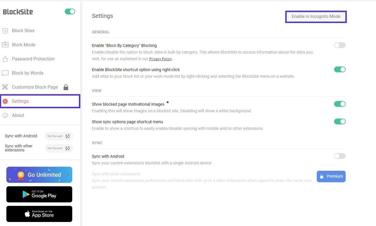 blocksite enable in incognito mode
