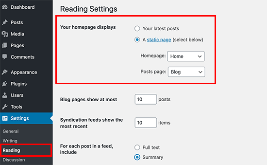 Select blog and home page
