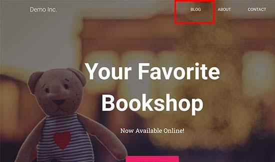 Blog link in navigation menu