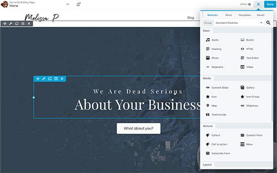 Editing homepage in Beaver Builder