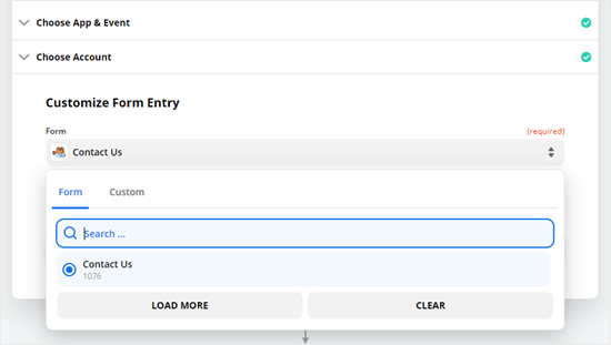 Choose the form you want to use from the dropdown list