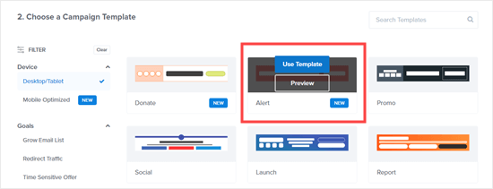 Select the Alert template to start building your free shipping bar