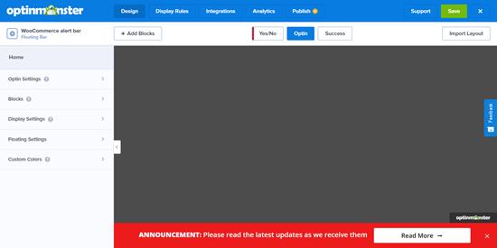 The default alert bar template in OptinMonster