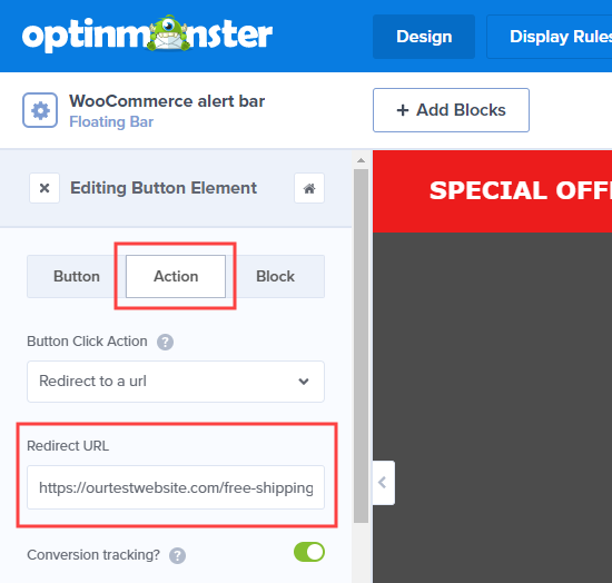 Edit where the button redirects to on your website