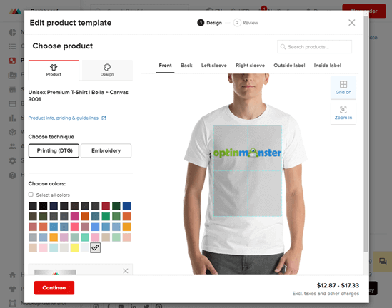 Adding text and clipart to a print on demand t-shirt in Printful