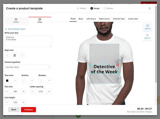 Editing the left sleeve of the print on demand t-shirt in Printful