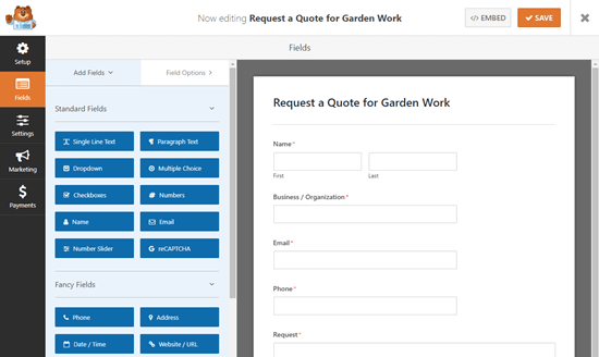 The default Request a Quote form in the WPForms form builder