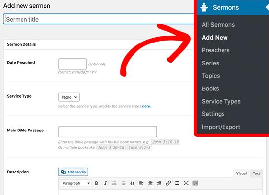 Add new sermon to WordPress
