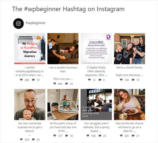 The #wpbeginner hashtag feed