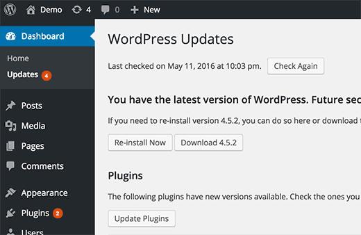 Notifications for Updates in WordPress