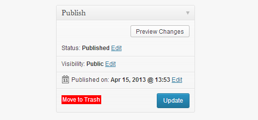 Move a post to trash in WordPress