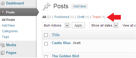 Finding deleted WordPress posts in trash