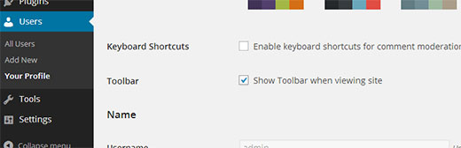 Hide toolbar when viewing front-end of a website