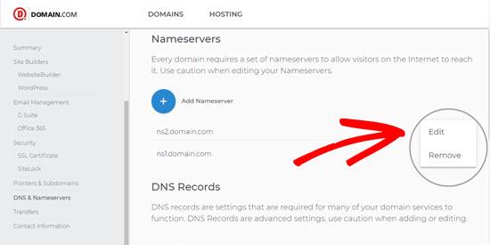 Edit Nameservers on Domain.com