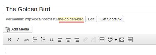 Post slug appearing in the url in post edit area