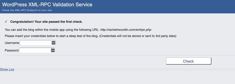 Rachel McCollin website - XML-RPC check