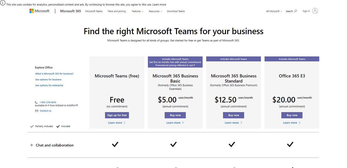 microsoft teams plans
