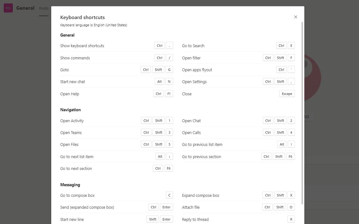 microsoft teams shortcuts