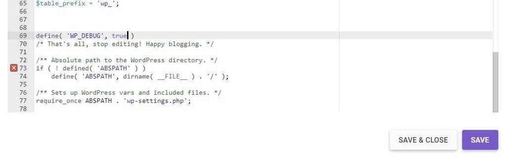 Включение WP_DEBUG - Строки Кода