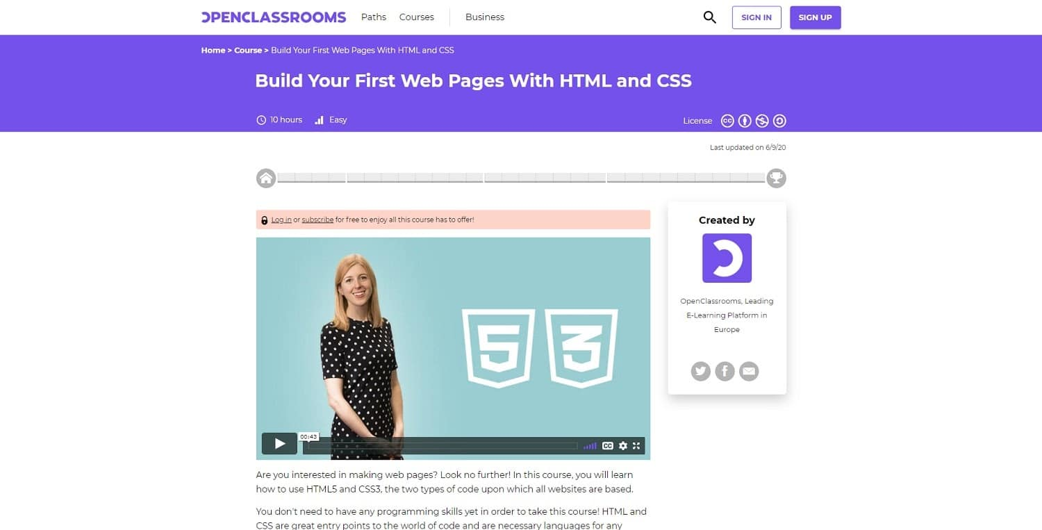 openclassrooms build your first web pages course