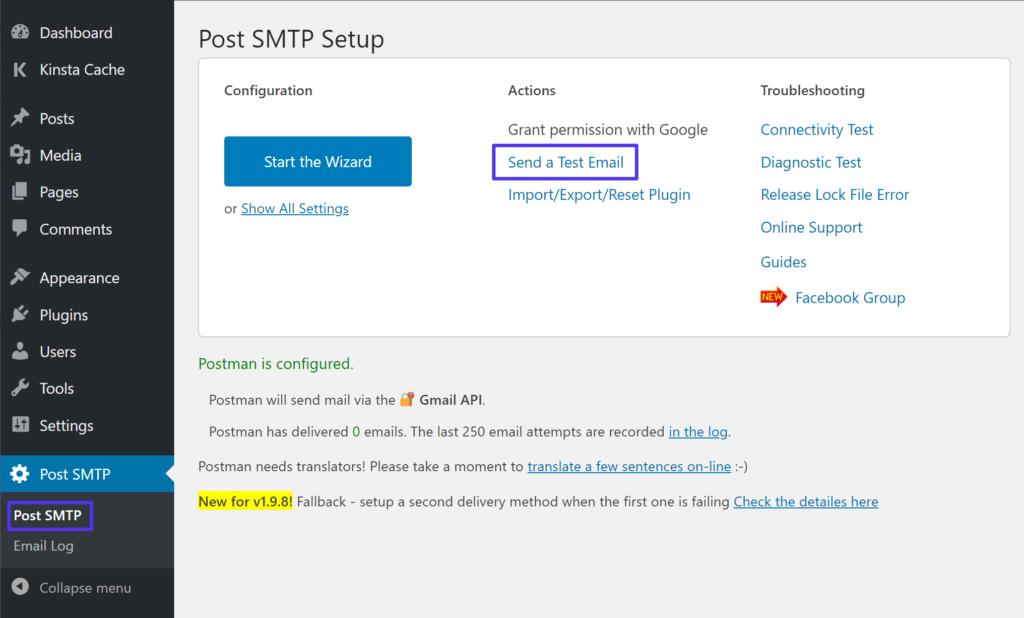 How to send a test email via the Gmail API