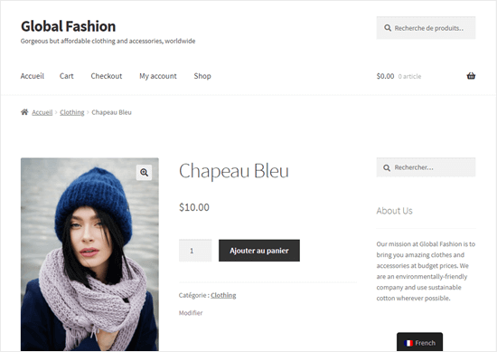 The Blue Hat page, partially translated into French