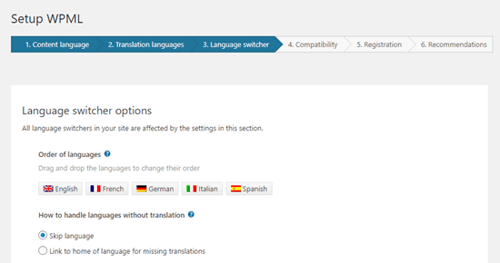 Choosing the order of languages for the language switcher