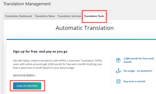 Signing up for automatic translations