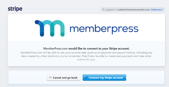 connect my stripe account with memberpress