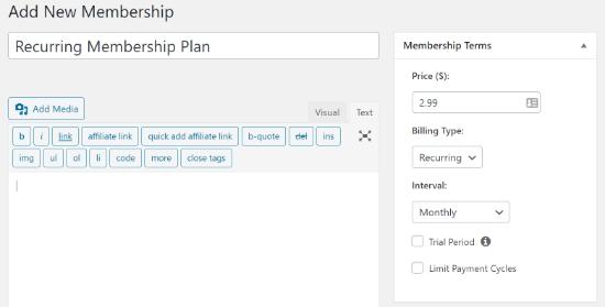 set up recurring payment in memberpress