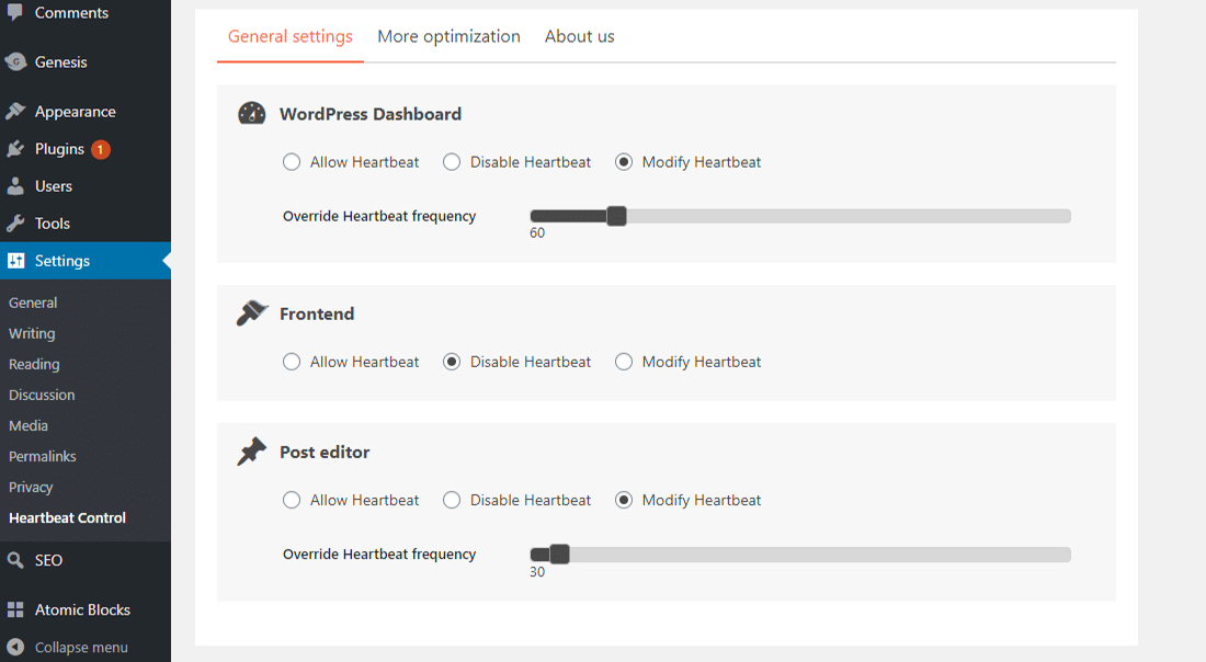 Heartbeat Control plugin's 'General settings' dashboard