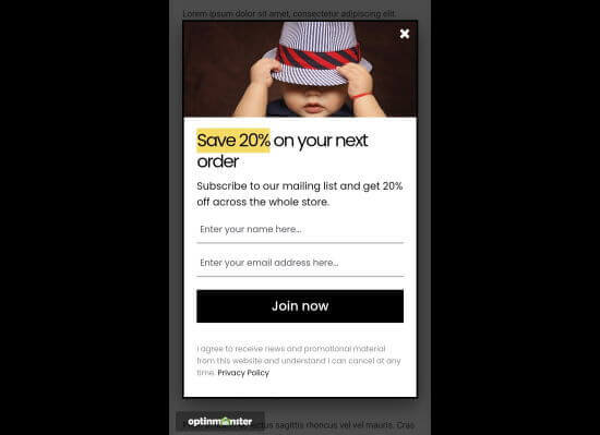Our mobile popup displaying on our demo website