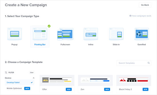 Creating a floating bar campaign in OptinMonster