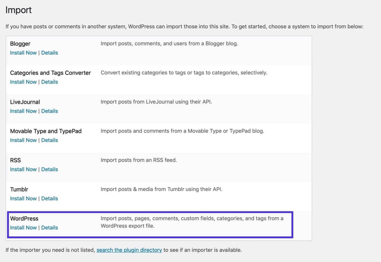 Import screen - installing the WordPress installer