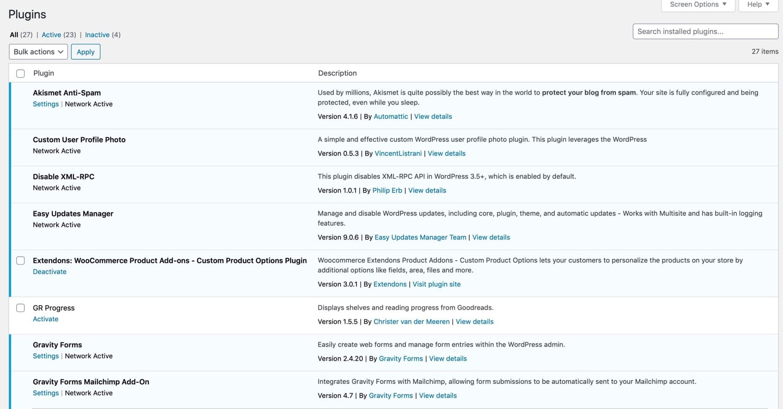 Plugins screen in Multisite Network sub-site