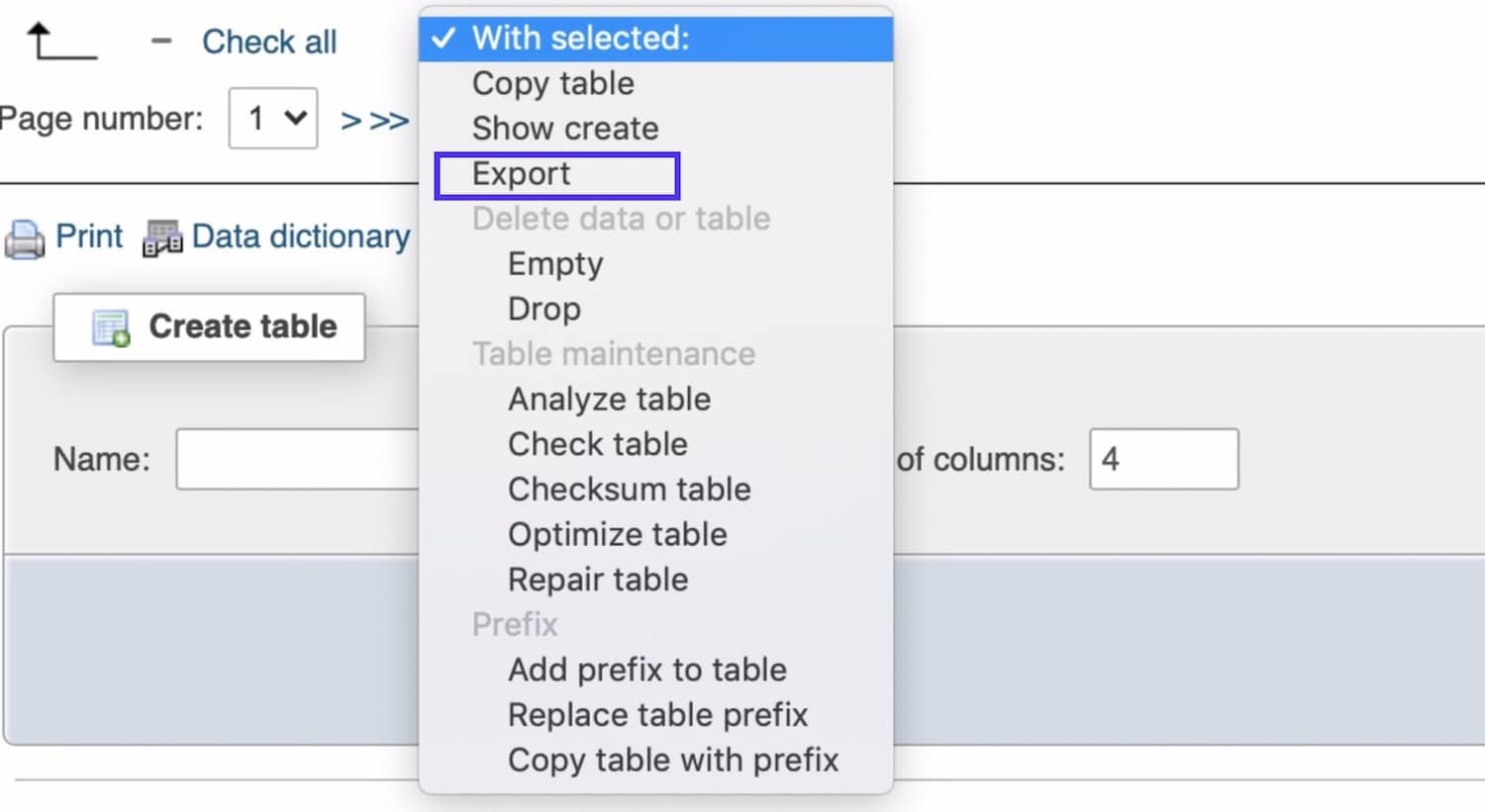 Selecting and exporting database tables